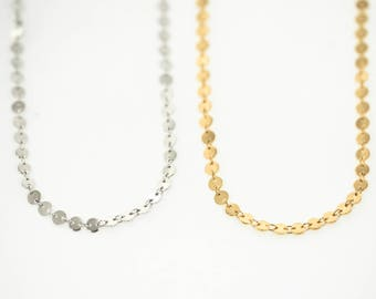 Linked Disc Chain Necklace, Layering Necklaces, Layering Chokers