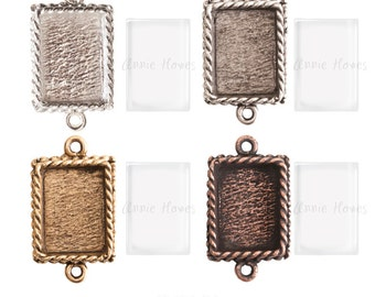 Ornate Mini Pendant Tray Charm and Glass Insert. Double Loop. Silver, Antique Silver, Copper, or Antique Gold. Annie Howes. OMRP Rectangle