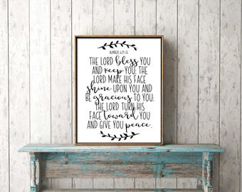 Bible Verse Wall Art digital print download - The Lord bless you and keep you - wall art, printable, scripture, Christian, blessing, prayer