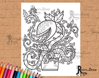 INSTANT DOWNLOAD Man Eating Plant  Coloring Print, doodle art, printable
