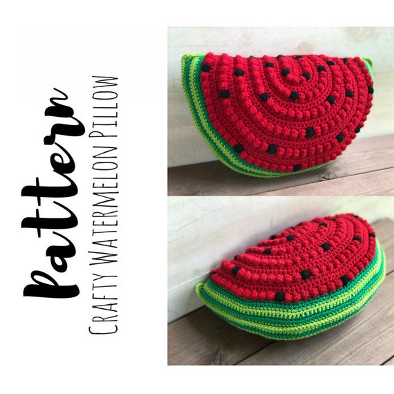 Crochet Watermelon Pillow Pattern, Watermelon Pillow Pattern, Crochet Watermelon Pattern, Crochet Pillow Pattern, DIGITAL DOWNLOAD, Summer - How to Crochet Summer Pillow Patterns
