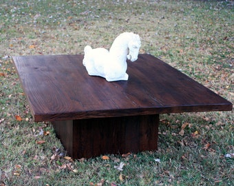 """Very Large Coffee Table.  Solid Wood Coffee Table.  Plinth Coffee Table. Reclaimed Wood Coffee Table.  55""""l x 44""""w x 18""""t. Dark Brown Finish"""