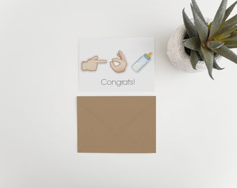 Greeting Card- Congrats on baby card: emoji card, card for new baby, new arrival emoji card, Card for new parents, Card for expected baby
