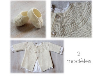 30 / Baby Set / Knitting Instructions in French / PDF Instant Download / 3 Sizes : Newborn / 3 months / 6 months