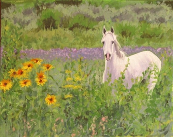 "White Horse in a Field of Sunflowers"" archival print white horse in landscape"