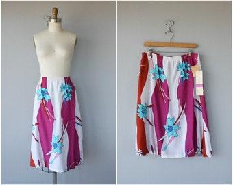 Vintage 1970s Midi Skirt | 70s Skirt | 70s Midi Skirt  Deadstock 70s Skirt | Oversized Floral Print Cotton Skirt - (large/XL)