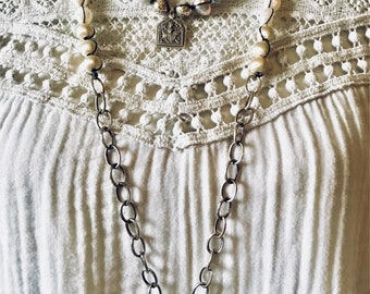 Bohemian Pearl & Druzy Quartz Necklace