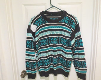 Vintage 70's Tacky Ugly Christmas Ski Sweater Nordic Pattern  Snowflakes Teal & Black size SMall Mens womens Free Shipping  Ski Apres