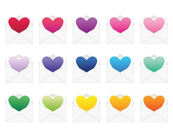 Envelope Ombre Heart Cip Art Set | Cute Love Symbol Gradient Graphic | Digital Illustration Stock Icons | Personal or Commercial Use