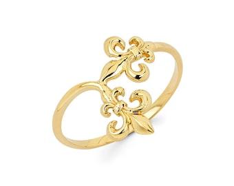 14k Fleur De lis Ring, Fleur de  lis ring, Fleur de lis jewelry, Gold Fleur de lis, 14k Fleur de lis, Dainty Jewelry