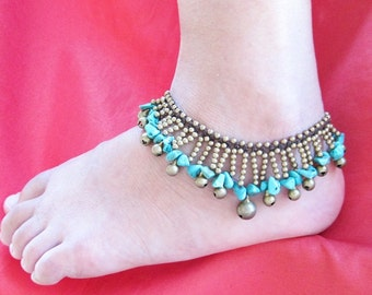 Turquoise Waterfall Cascade Anklet