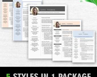 Modern Resume Template, CV Template + Cover Letter, Creative Resume Design, Teacher Resume, Instant Download MS Word Resume Template Bundle