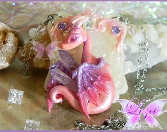 Dragon necklace / Dragon pendant / Dragon Jewelry / Amethyst Necklace