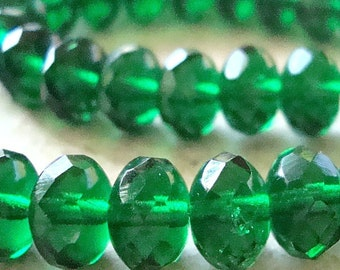 Czech Glass Beads 9 x 5mm Emerald Green Faceted Rondelles - 10 Pieces