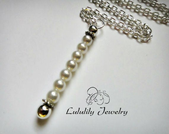 Silver Pearl Pendant Necklace, Bar Pendant, Pearl Stick Necklace