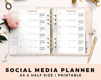 A5 HALF Size Printable Personal Planner Inserts, Social Media Planner, Blog Planner, SNS Planner, Productive Planner