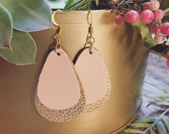 Peach and gold double leather earrings
