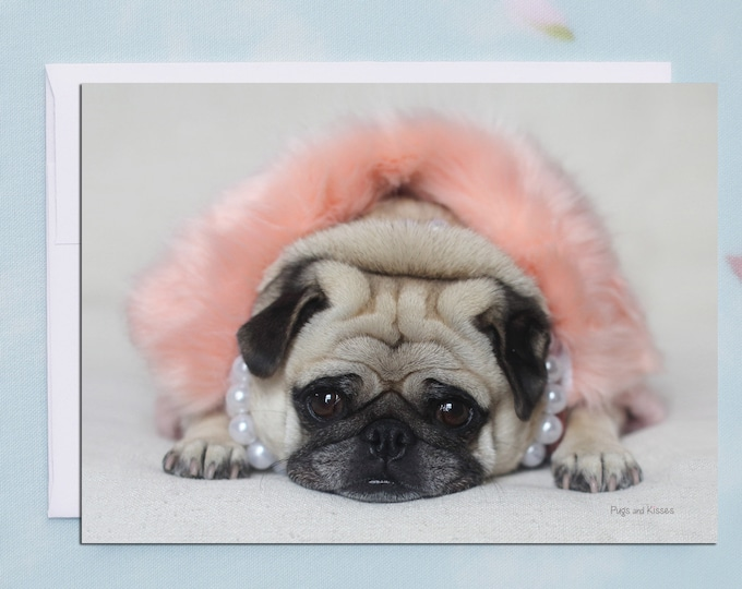 BLANK Card - Pug in Peach - All Occasion PUG Greeting Card- Pug Gift - Pugs and Kisses - 5x7