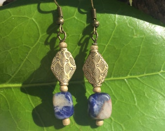 Lapis Stone and Brass Earrings