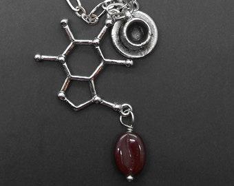 Caffeine Molecule Coffee Necklace Chemistry Biology Science Graduation Gift