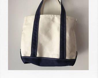 LL Bean navy/cream cotton boat and tote - medium