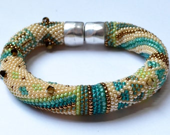 """Single Crochet with Beads """"Beginnings"""" Bracelet Pattern & Instructions 3 Colorways Included"""