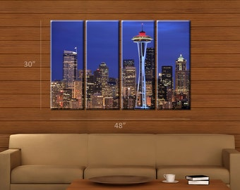 Framed Huge 4 Panel City Skyline Seattle Space Needle Giclee Canvas Print - Ready to Hang