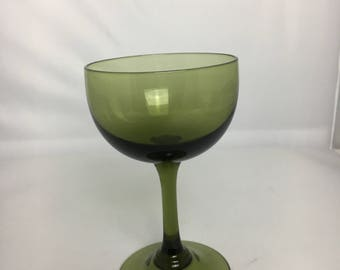 Olive GREEN GLASS STEMWARE Coupe Glass