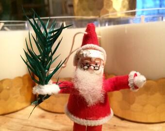 Santa Ornament, Putz Santa, Elf, Christmas Decoration, Old Santa, Collectible Christmas, Holiday Decor