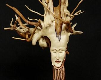 Hand carved sculpture wood alibustre face 4