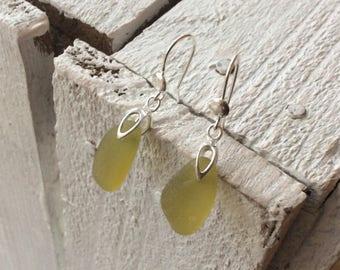 Amber Sea Glass Sterling Silver Earrings, Seaham Sea Glass