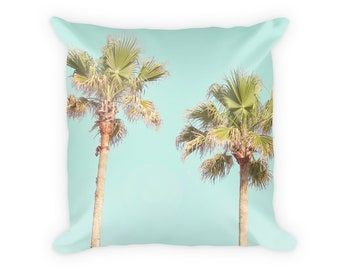 Palm Pillow Case, Palm Tree Pillow Cover, Turquoise Beach Pillow, Tropical Pillow, Palm Pillowcase, Palm Decor, Palm Trees, Beach Bedroom