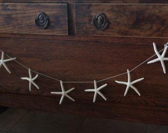 Natural White Finger Starfish Garland for Coastal DIY Do it yourself Decorating/ Starfish on String Garland/ Mantle Decor Display Theme SEA