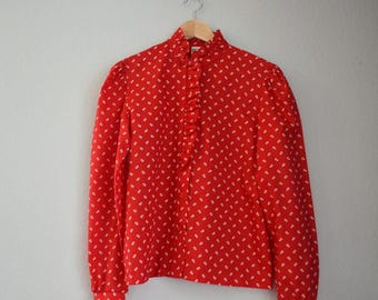 Red + White Print Vintage Koret Button Up Blouse with Ruffles