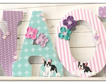 Puppy. Dog. Boston Terrier Nursery. Wood Letters.