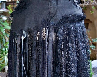 NOW and Lace Black Denim Jean,Unique One of A Kind Festival Lace Skirt