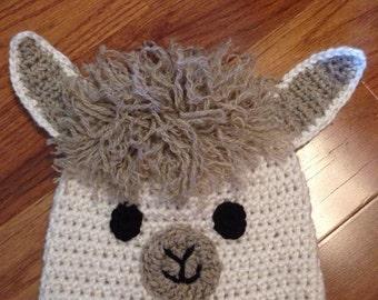 Llama/alpaca crochet beanie hat