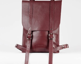 SALE! / Сherry colored leather backpack rucksack / In stock / Leather backpack / Leather rucksack / Womens backpack / Gift