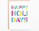 Items similar to happy holidays stencil christmas card seasons happy holidays stencil christmas card seasons greetings non religious holiday cards bright colorful box set or single m4hsunfo