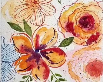 6 x 8 Spring Flowers original