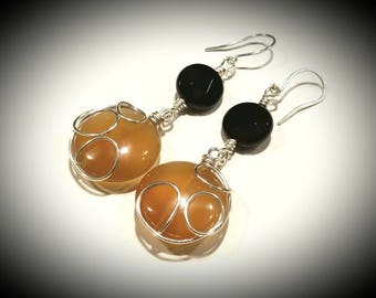 Sterling silver wrapped yellow Chalcedony and onyx earrings, Handcrafted