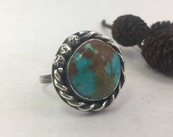 Turquoise Ring, Size 6 1/4, Sterling Silver, Royston, Blue Ring, Boho Turquoise Ring, Rustic Ring, Earthy Ring, Best Dressed, Jewelry