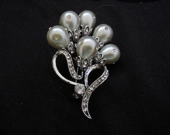 Swarovski Crystal White Pearl Bow Flower Pin Brooch #367