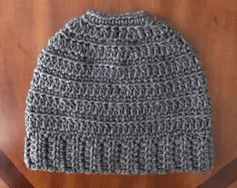 Messy Bun Beanie / Messy Bun Hat / Ponytail Hat / Mom Bun Beanie / Winter Hat / Adult Size / Child Size / MADE TO ORDER