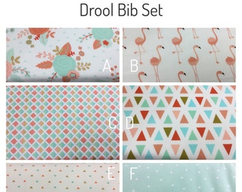 Drool bib and strap covers for front facing baby wearing for Beco, Boba, Ergo, Lillebaby with choice of fabric