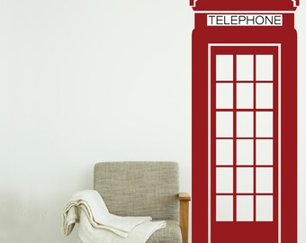 Geographical Landmark UK British Icon London Phone Booth-Wall Decal Custom Vinyl Art Stickers