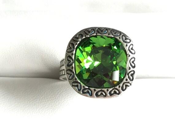 Fern Green Crystal Ring, Swarovski Fern Green Ring, Swarovski Green Crystal Ring