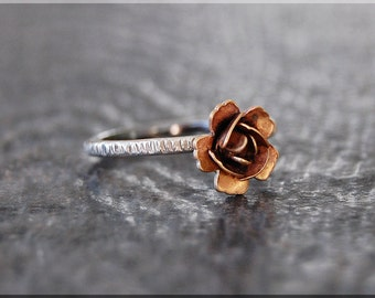 Rose Stacking Ring, Sterling Silver Rose ring, Flower jewelry, Stacking Jewelry, Rose Cocktail ring, Spring Jewelry, Sterling Silver Ring
