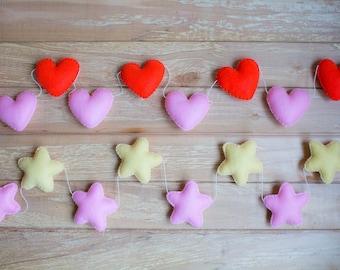 SALE Star Garland Heart Garland / Nursery Garland / Star Bunting - Baby Shower Gift - Party Decor - Photo Prop - Baby Shower Decor set of 10