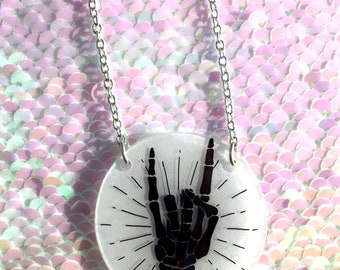 Skeleton Devil Horns Hand Necklace - Circle, Halloween, Spooky, Skull, Metal